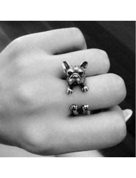 Vintage Animal Handmade French Bulldog Rings Fashion Antique Gold Silver Adjustable Finger Ring Jewelry For Women & Men Gift by Celadon