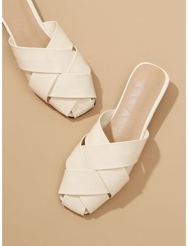 Criss Cross Mule Flats by Sheinside
