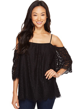Elbow Sleeve Cold Shoulder Geo Lace Blouse by Vince Camuto