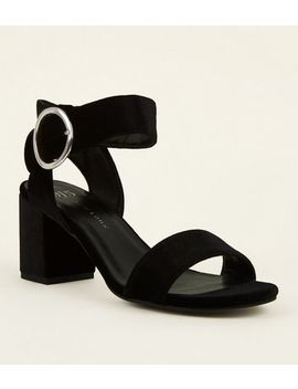 Girls Black Velvet Ring Buckle Sandals by New Look