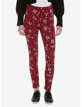 Harry Potter Icons Print Burgundy Leggings by Hot Topic