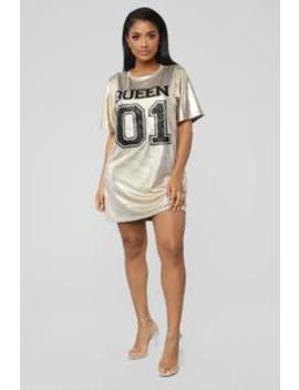 Glitter Queen Shirt Dress   Gold by Fashion Nova