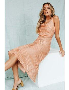 Soirée Cowl Neck Midi Dress // Tan by Vergegirl