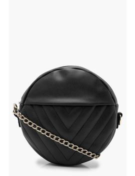 Chevron Quilted Structured Round Bag by Boohoo