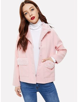 Pocket & Button Front Faux Fur Contrast Coat by Shein