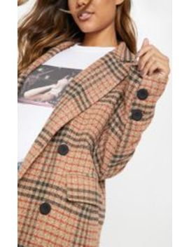 Brown Check Maxi Coat  by Prettylittlething