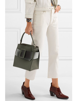 Devon Buckled Velvet And Leather Tote by Boyy