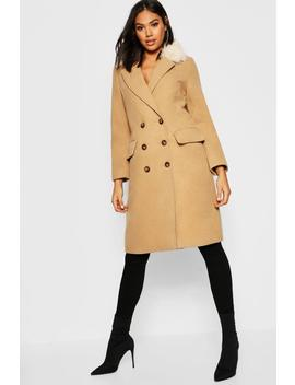Tall Faux Fur Collar Double Breasted Wool Look Coat by Boohoo