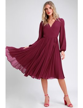 First Impression Magenta Pleated Midi Wrap Dress by Lulus