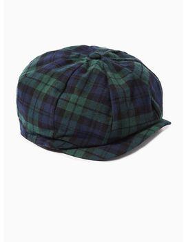 Black Watch Baker Boy Hat by Topman