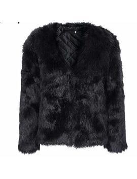 Puedo Womens Faux Fur Coat Solid Color Winter Warm Fur Jacket Long Sleeves by Puedo