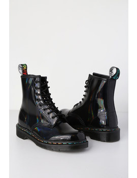 1460 Pascal Black Rainbow Iridescent 8 Eye Boots by Dr. Martens