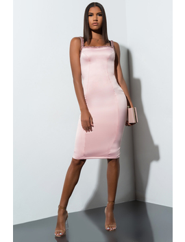 If Only Satin Midi Dress by Akira