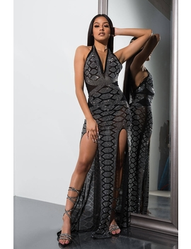 Hard To Focus Dramatic Rhinestone Maxi Dress by Akira