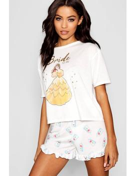Disney Belle 'bride To Be' Frill Pj Short Set by Boohoo