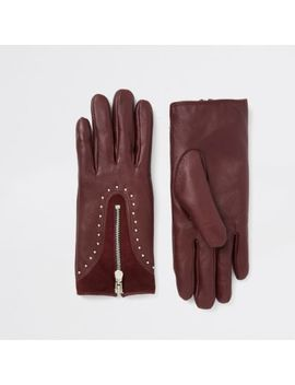 Dark Red Leather Studded Zip Gloves by River Island