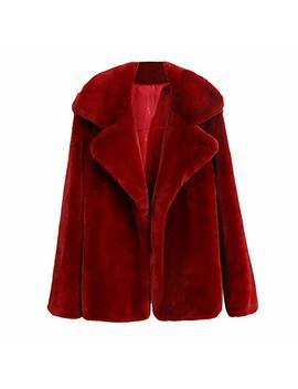 Amiley Women Winter Faux Fur Cardigan Coat Solid Lapel Jacket Warm Coat Down Jacket Coat Outwear by Amiley Women Hoodies