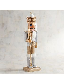 "Silver & Gold Glittered 15"" Nutcracker by Pier1 Imports"
