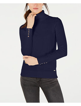 Cotton Button Trim Turtleneck Sweater, Created For Macy's by Tommy Hilfiger