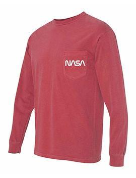 Nasa Retro Worm Logo Comfort Colors Long Sleeve Shirt by Print Bar Az
