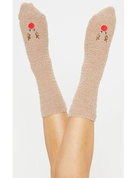 Brown Reindeer Fluffy Socks by Prettylittlething