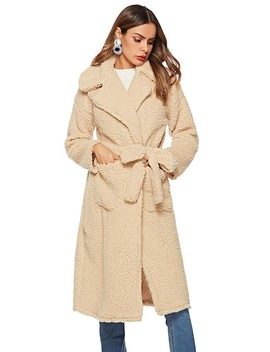 Self Tie Long Teddy Coat by Sheinside