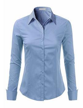Foryous Women Button Down Shirt Long Sleeve Blouses Slim Fit Plus Size by Foryous