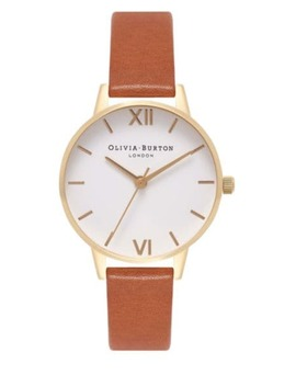 White Dial Big Dial Stainless Steel & Leather Strap Watch by Olivia Burton