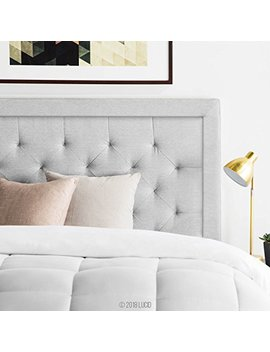 Lucid Bordered Upholstered Headboard With Diamond Tufting   King / California King   Stone by Lucid