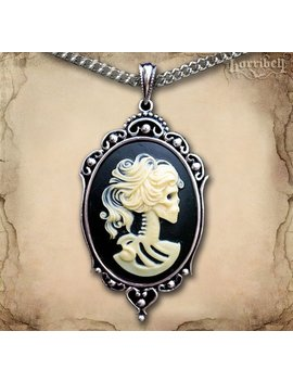 Ivory Skeleton Cameo Necklace // Gothic Necklace // Day Of The Dead Necklace // Victorian Jewelry // Gothic Cameo // Skull Necklace by Etsy