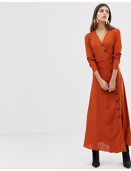 Y.A.S Large Button Front Maxi Dress In Rust by Y.A.S.