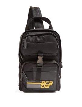Logo Patch Nylon Backpack by Prada