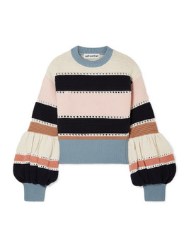 Striped Ribbed Cotton And Wool Blend Sweater by Self Portrait