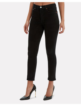 Power Stretch Black Cropped Jeans by Re/Done