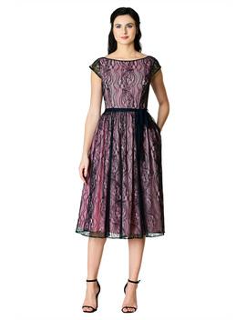 Graphic Floral Lace Sash Tie Dress by Eshakti