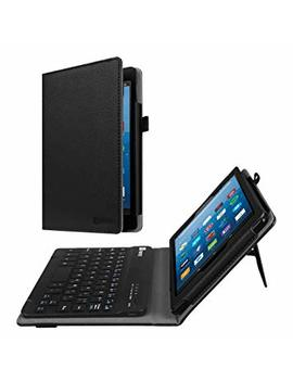 Fintie Folio Keyboard Case All New Amazon Fire Hd 8 (7th And 8th Gen, 2017 And 2018 Releases), Slim Fit Pu Leather Stand Cover All Abs Hard Material Removable Wireless Bluetooth Keyboard, Black by Amazon