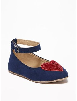 Faux Suede Sparkle Heart Ballet Flats For Baby by Old Navy