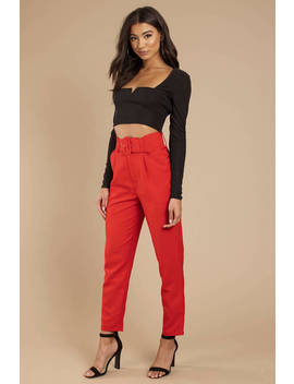 Beatrix High Waisted Belted Red Pants by Tobi