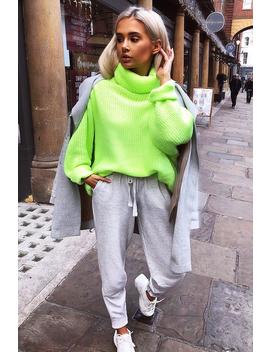 Neon Lime Green Roll Neck Jumper Dress   Freylynn by Rebellious Fashion