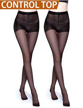 Vero Monte 2 Pairs Control Top Pantyhose For Women   Womens Semi Opaque Tights by Vero Monte