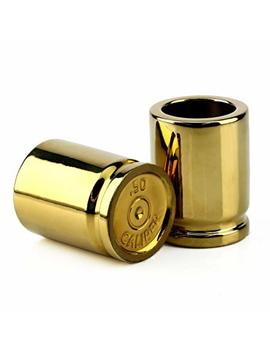 Barbuzzo 50 Caliber Shot Glass   Set Of 2 Shot Glasses Shaped Like Bullet Casings   Step Up To The Bar, Line 'em Up, And Take Your Best Shot   Great Addition To The Mancave   Each Shot Holds 2 Ounces by Barbuzzo
