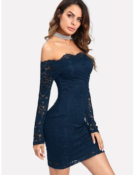 Bardot Floral Lace Overlay Bodycon Dress by Romwe