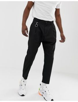 Bershka Loose Carrot Fit Pants In Black by Bershka
