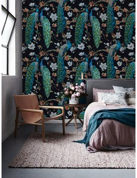 Peacock Removable Wallpaper   Traditional   White Print Wall Mural   Self Adhesive Wall Decal   Temporary Peel And Stick #126 by Etsy