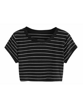 Sweaty Rocks Women's Short Sleeve Striped Crop T Shirt Casual Tee Tops by Sweaty Rocks