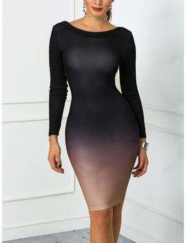 Gradient Color Open Back Bodycon Dress by Ivrose