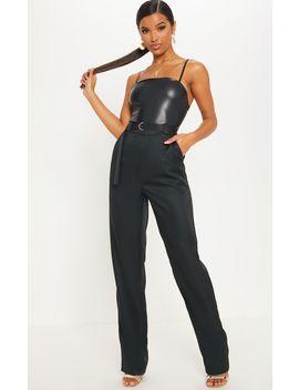 Black Straight Leg Woven Trouser by Prettylittlething