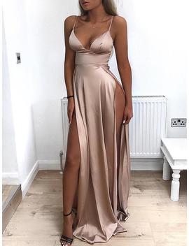 Deep V High Slit Maxi Slip Dress by Ivrose