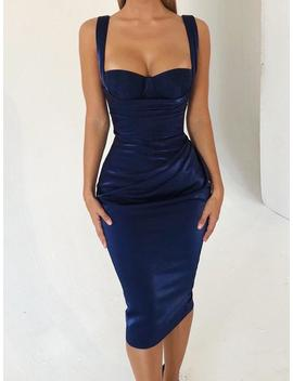 Thick Strap Ruched Slit Back Party Dress by Ivrose
