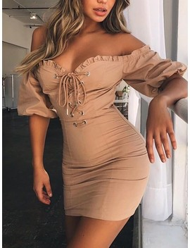 Fashion Frilled Lace Up Eyelet Off Shoulder Dress by Ivrose